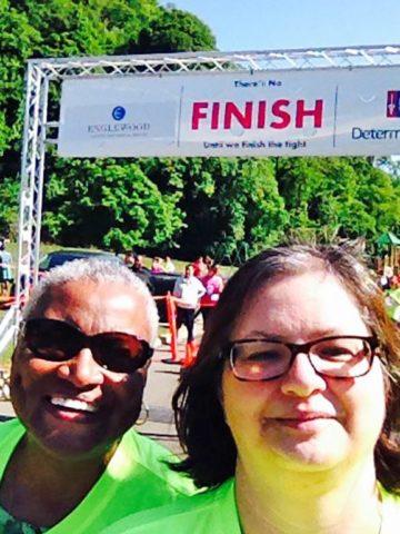 Liz and Maria cross the finish line!